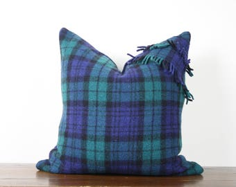 "20""x20"" Blue Green Plaid Vintage Wool Pillow Cover with Fringe Detail 