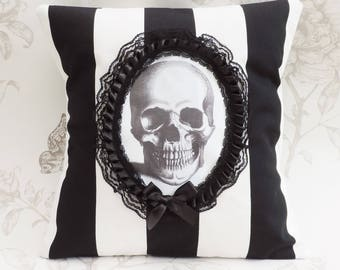 Cameo skull pillow stripes- gothic victorian pillow-cameo pillow -cushion black and whitejumbo stripes- halloween- macabre-gothic home decor