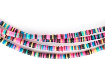 African Vinyl Disc Beads - Recycled Phono Records from Ghana - 3mm Vulcanite Heishi Beads - Full Necklace - Wholesale (PHON-DISK-MIX-224)