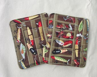 Fishing Men's Gift - Pot Holders - Fishing Flies Lures Pot Holders - Camp Hot Pads - Fly Fishing Decor - Vintage Lure Kitchen - Man Kitchen