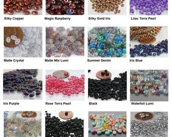 Twin Czech Glass Two Hole Beads 10-Grams Ur PICK Silky Gold Iris Copper Magic Raspberry Beach Glass Matte Lumi Pink Purple Pearl Denim