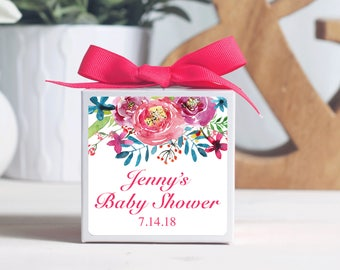 12 Custom Baby Shower Favor Boxes - Personalized Favor Boxes - Floral Shower Favors - Flower Baby Shower Favors - Floral Favor Boxes
