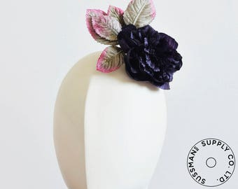 "Millinery Flower - Lila Vintage French Peony Flower Applique - Purple (5"")"