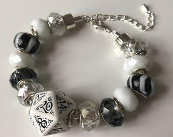 D20 dice bracelet dungeons and dragons dice white black dice D20 pathfinder dice bracelet blue D20 qworkshop dice jewelry magestudio dice