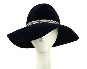 Womens Fedora Hat Wedding Hat, Floppy Hat Wide Brim Hat, Occasion Hat, Felt Hat, Black Hat, Mother of the Bride Hat, Black Fedora, Dress Hat