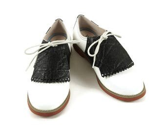 Black Kilties for Womens Golf Shoes Cheer Shoes Saddle Shoes Swing Dance Shoes & Marching Band, Golf Accessories, Gift for Mother, Golf Gift