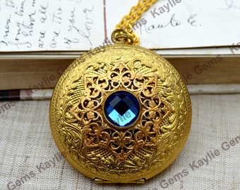 Large Locket Necklace Filigree Aqua Blue Gem Raw Brass
