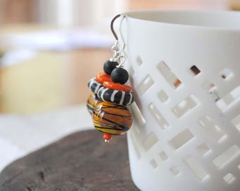 Orange Halloween Earrings, Striped Earrings, Black Earrings, Lampwork Glass Bead Earrings, Unique Halloween Jewelry, Funky Earrings