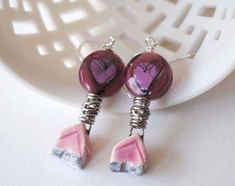 Heart Earrings, Pink Earrings, Home / House Earrings, Ceramic Earrings, Lampwork Glass Bead Earrings, Unique Artisan Earrings, Boho Chic