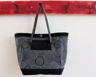 Small Upcycled Snap Tote, Salvaged Upholstery, Black Grey Circles and Denim