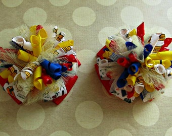 Girls School Bows- Red Blue Yellow White- Baby Bows- Toddler Bows- Pigtail Bows- Back To School- Stacked Pinwheel Bows- Set of Two