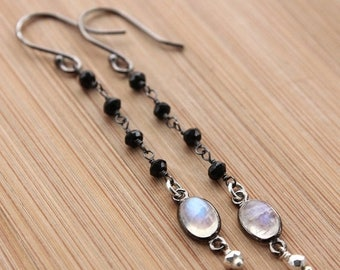 ON SALE Black Spinel, Rainbow Moonstone and Silver Pyrite Earrings