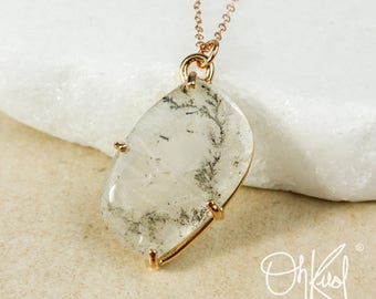 Free Form Dendritic Quartz Necklace - Opaque Dendrite Quartz Pendant - One of a Kind