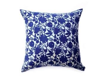 Indigo pillow blue floral pillow cover bohemian home boho lux boho chic block printed Decorative throw Pillow cotton - RADHA PILLOW COVER