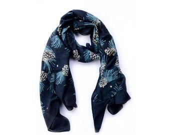 Blue Scarf Scarves black indigo handprint scarves silk cotton Block Print wrap SAMPLE SALE natural fall fashion women accessories - Pinecone