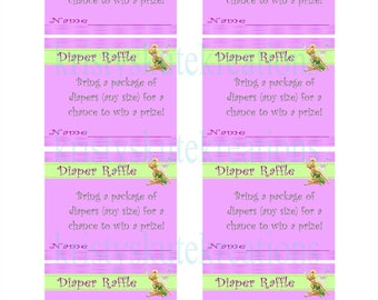Tinkerbell Diaper Raffle Tickets-Digital-Matches Tinkerbell baby shower invites