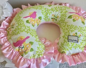 Mockingbird Nursing Pillow Cover, Baby Pink Boppy Cover, Spring Boppy Cover, Mockingbird Boppy Cover, Pink Boppy Cover
