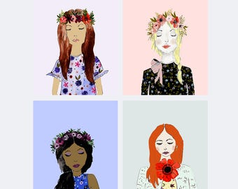 Fashion Girls Postcard Set - Set of 8