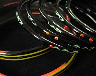 Set of 7 Black Glass Bangle Bracelets