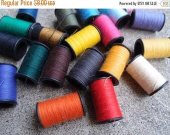 SALE SALE SALE Vintage Sewing Thread Kit Multicolored Spools Fix It Mending Supplies Travel