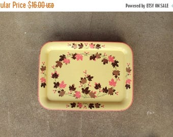 SALE SALE SALE Vintage Tv Tray Metal Set Four Yellow Pink Maple Tree Heliopters Woodland Home Cottage Cabin Rustic Decor Serving Storage Org
