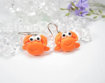 Crab Earrings, crab jewelry, crab gifts, animal crab charm, polymer clay, cute earrings, animal earrings unique earrings gift sea creatures
