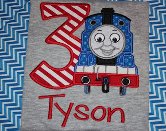 Train 3rd birthday tshirt, or dress for boy or girl- any number you choose colors