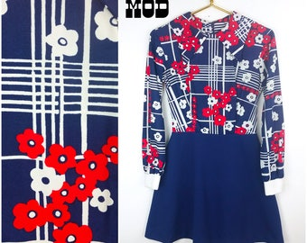 Adorable Vintage 60s 70s Red, White & Blue Floral Plaid Dolly Bird Dress with Large Pointed Collar