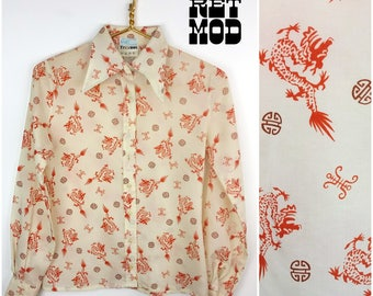 Unique Vintage 70s Red-Orange Dragon & White Asian Themed Blouse with Pointy Collar by Bigi