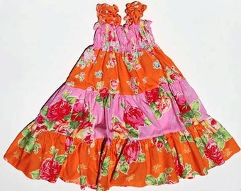 Pink and Orange Twirly Sundress