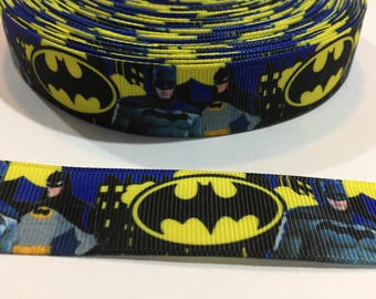 3 Yards of Ribbon - Batman with a City Scape 7/8 inch Wide