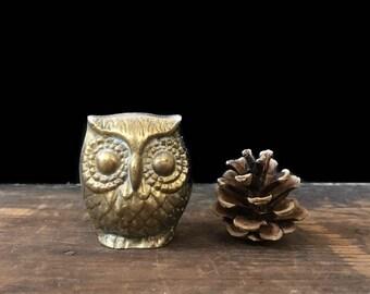 Brass Owl Figurine, Brass Bird, Paperweight, Rustic Decor, Woodland Decor, Farmhouse Decor