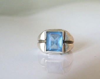 Vintage Art Deco Signet Uncas Sterling Silver 925 Aquamarine Blue Glass Ring Size 5