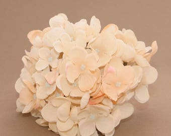 Ivory Peach Silk Hydrangea Bunch - Hydrangea Head - Artificial Flowers