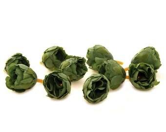10 Dark Green Tea Roses - Artificial Flowers, Silk Roses