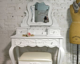 Painted Cottage Chic Shabby Romantic Vanity and Mirror VAN756