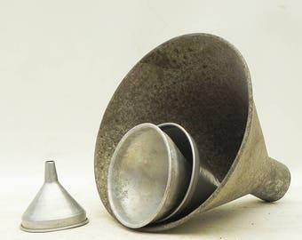4 Vintage Aluminum Funnels Farmhouse Industrial Repurpose Lamp Shade Parts Vintage Kitchen