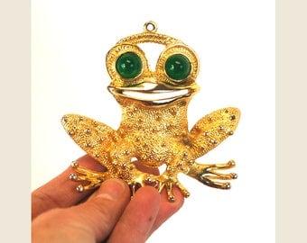 1970s frog pendant gold metal novelty frog charm Large
