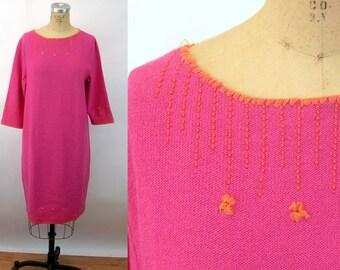 1980s knit dress Steve Fabrikant Santana knit pink orange beaded Size L