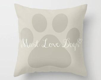 Dog Lover Pillow, Paw Print Pillow, Dog Paw, Dog Themed Gift, Dog Decor, Pet Themed Gift, Beige Pillow, Throw Pillow, Square Pillow