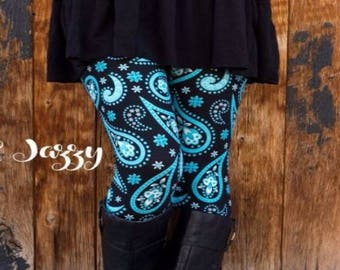 ONE Size Fits Adults Size 2-12 Black Teal Paisley Leggings
