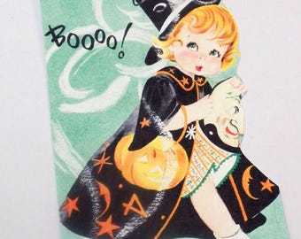 Halloween Costume - Gift Tags - Set of 4 - Retro Witch Tags - 1950's Tags - Cute Witch Girl - Boo Tags - All Hallows Eve - Treat Bag Toppers