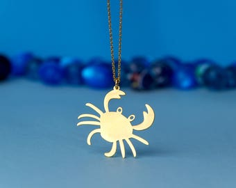 Crab Necklace Crab charm Sea Animal Necklace Sterling Silver Kids Teen Jewelry Blue Crab Birthday gift