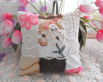 PINK DAISY Vintage Chenille Patchwork Pillow Sweet
