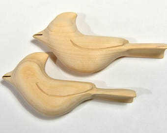 Unfinished Wood Wooden Birds Easter Craft Supply, Unfinished Ornaments Cardinal Wood Carving, Wood Sculpture, Woodworking, Adult Craft