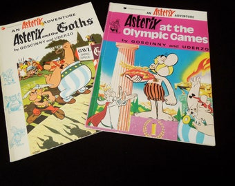 Asterix Comic Book - Asterix Olympic Goths - Two Vintage Books Humor 1970's