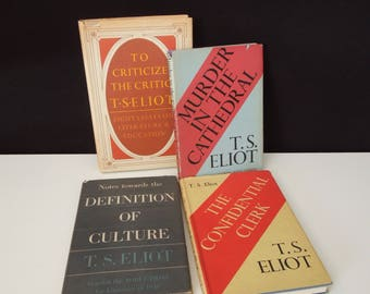 T.S. Eliot Book Collection - Vintage Hardcover Books - First Printing - Book Lover Gift - Literary Bookshelf - Nobel Prize winner
