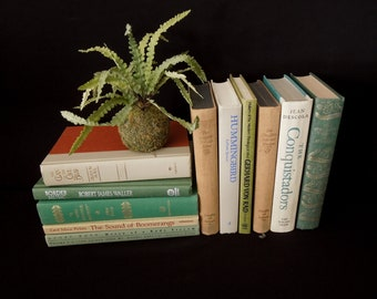 Green,Tan, & Taupe Vintage Book Set Stack - Instant Library - Books by the Foot -  Book Decor Home Staging