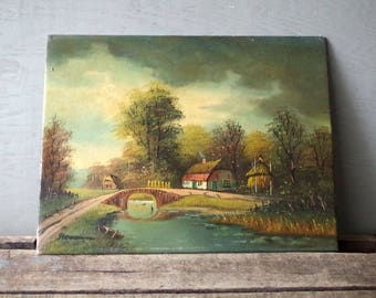 Oil on Board Country Cottage Scene Painting - Oil Painting Country Road w Bridge Thatched Roof House