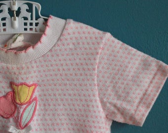 Vintage 1980s Toddler Girl's Knit Shirt with Tulip Applique - Size 2T